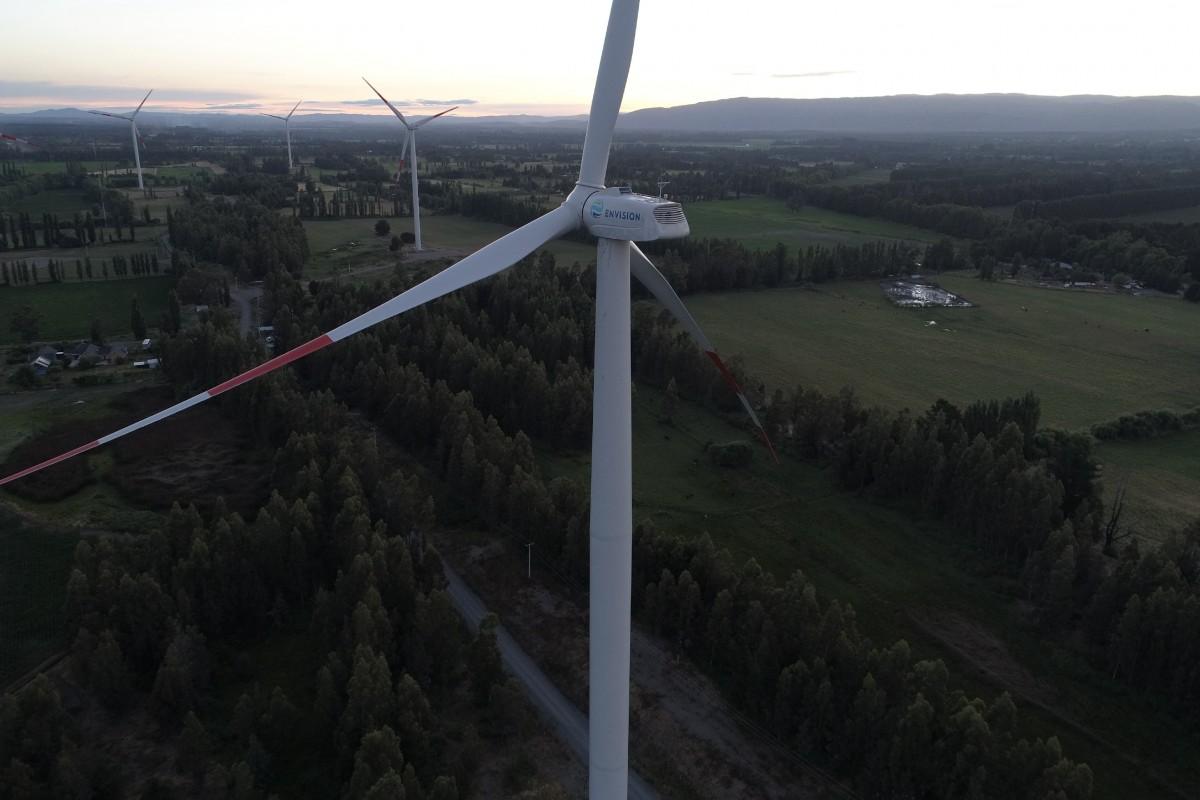 Wind turbines in Negrete, Bio Bio, Chile.