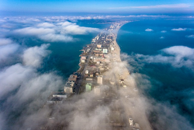 Foggy morning over Mamaia, Constanta, Romania