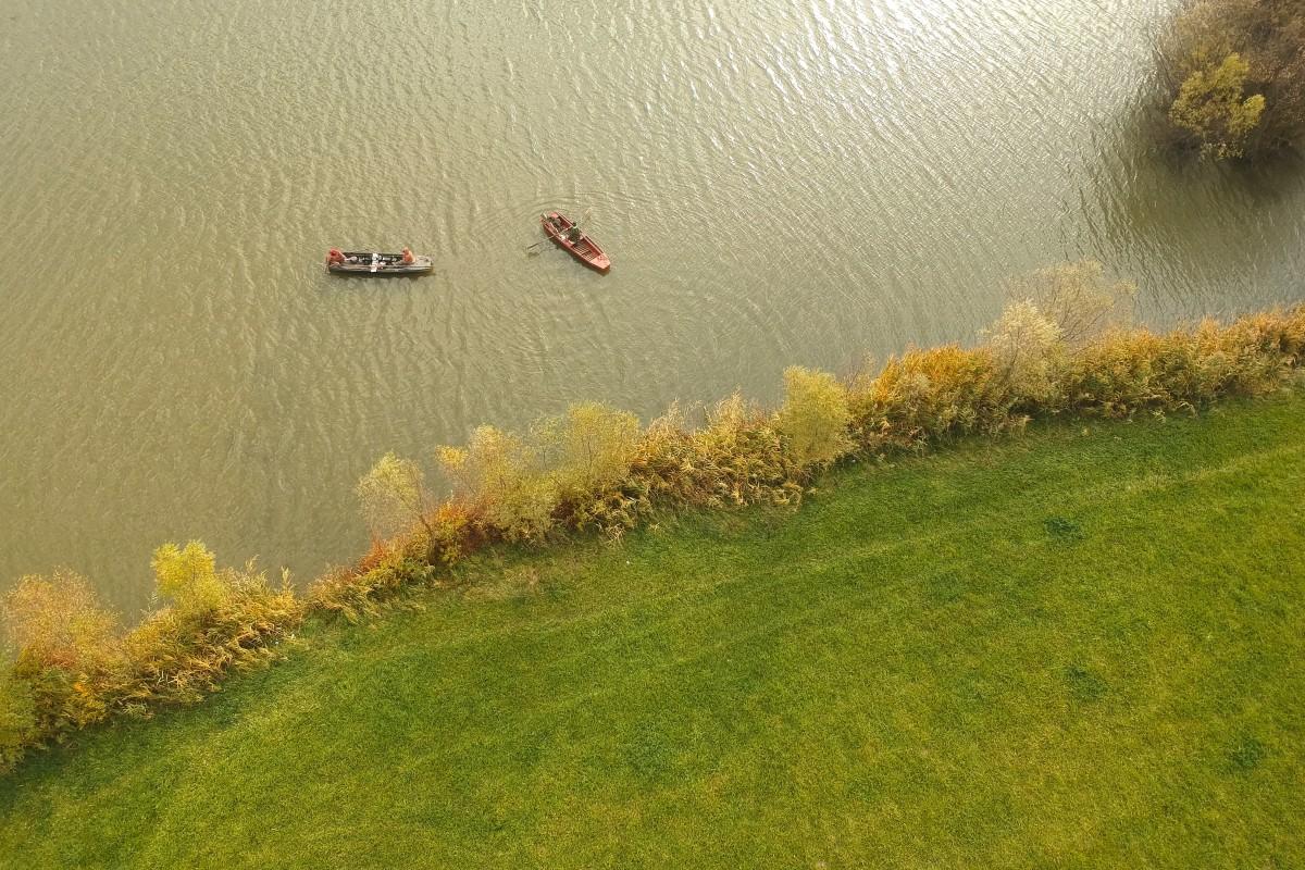 Fishing boats at Maconka lake, Hungary