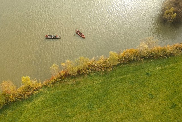 Fishing boats at Maconka lake, Hungary