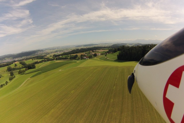 Swiss countryside with glider