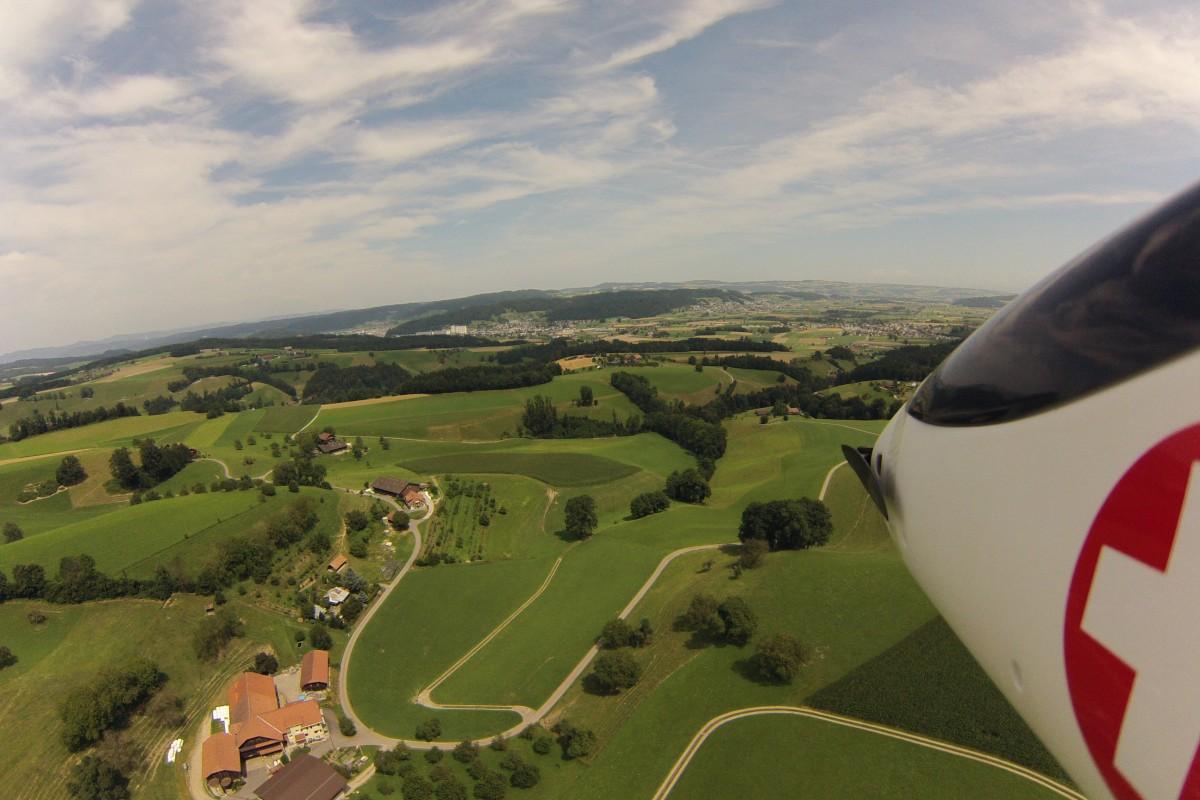 Swiss countryside overflight