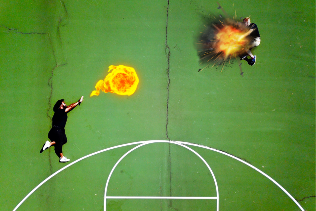 Fire balls on the courts