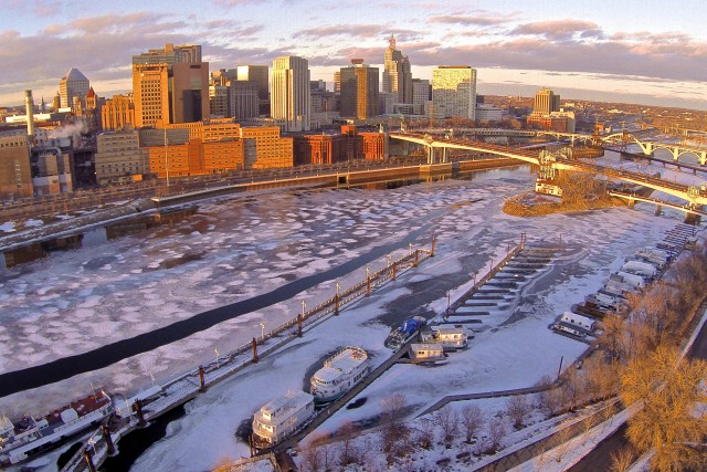 Downtown St. Paul, MN skyline in Winter