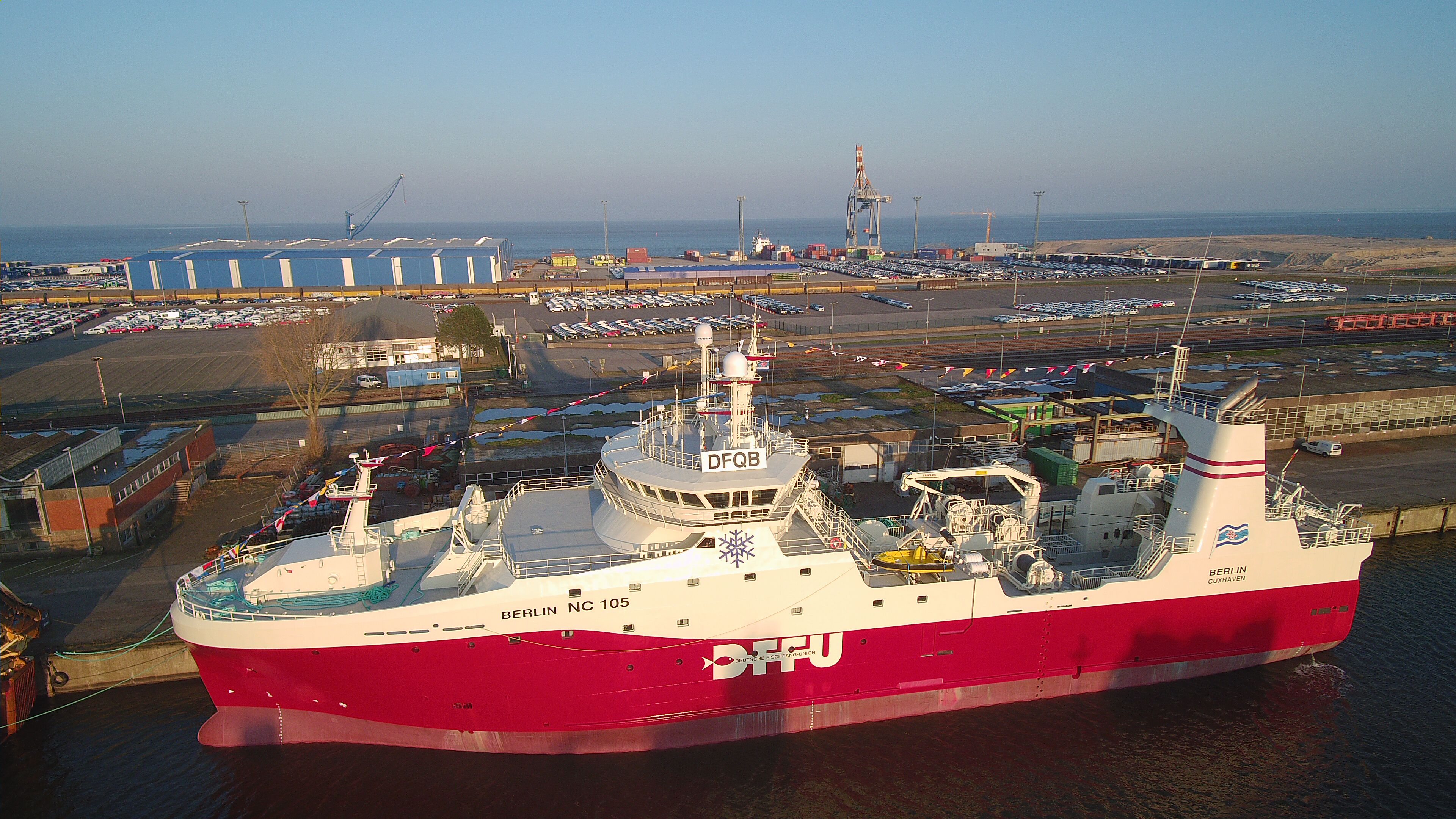 "DFFU brand new fishing vessel ""BERLIN"" in Cuxhaven just before its first commercial sail out"