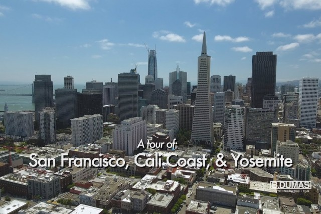 Aerial tour of San Francisco Cali Coast & Yosemite