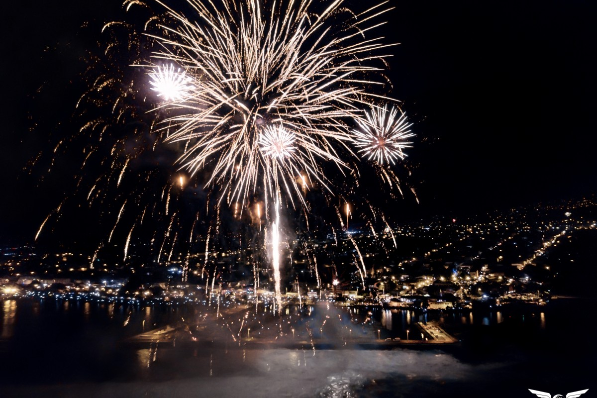 New year fireworks in Reunion island