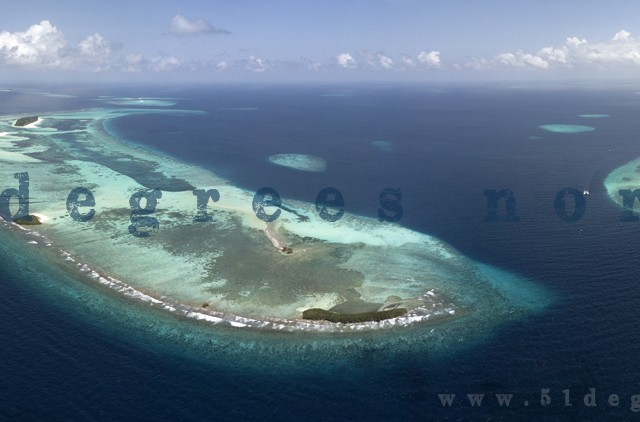 Aerial shot of Keredu Island, The Maldives