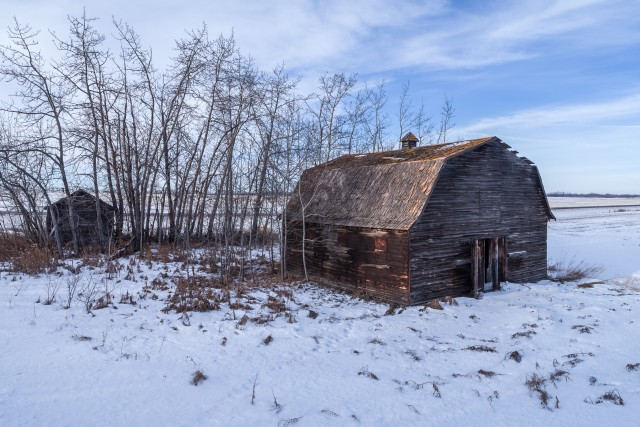 Old Prairie Barn in Winter
