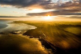 Sunrise on the River Stour, Essex, England.