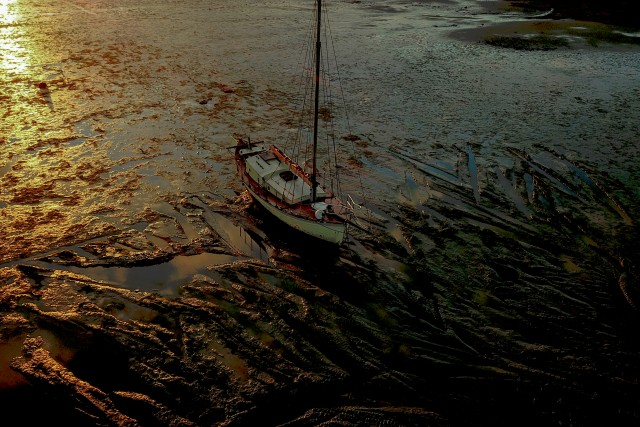 Abandoned Yacht on the Stour by Sunset