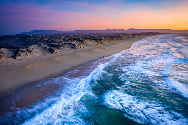 Sunset Along Solitude Beach, Marina State Beach, California