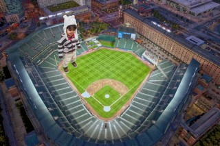 Caio towering over Camden Yards