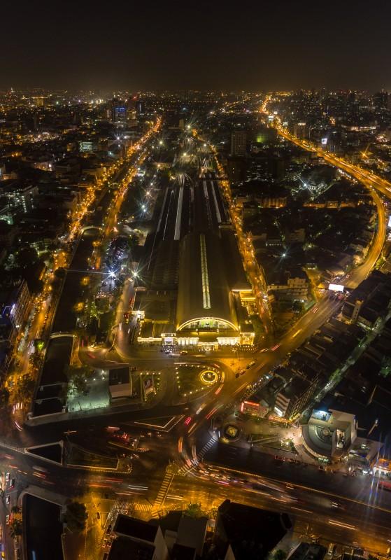 Bangkok train station and urban at night