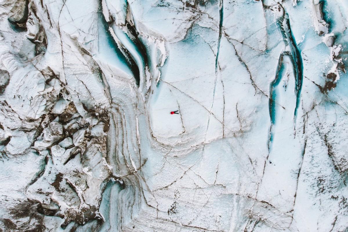 flat lay on a glacier