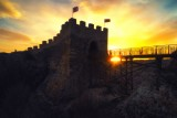Epic sunset over medieval fortress Ovech near Provadia, Bulgaria