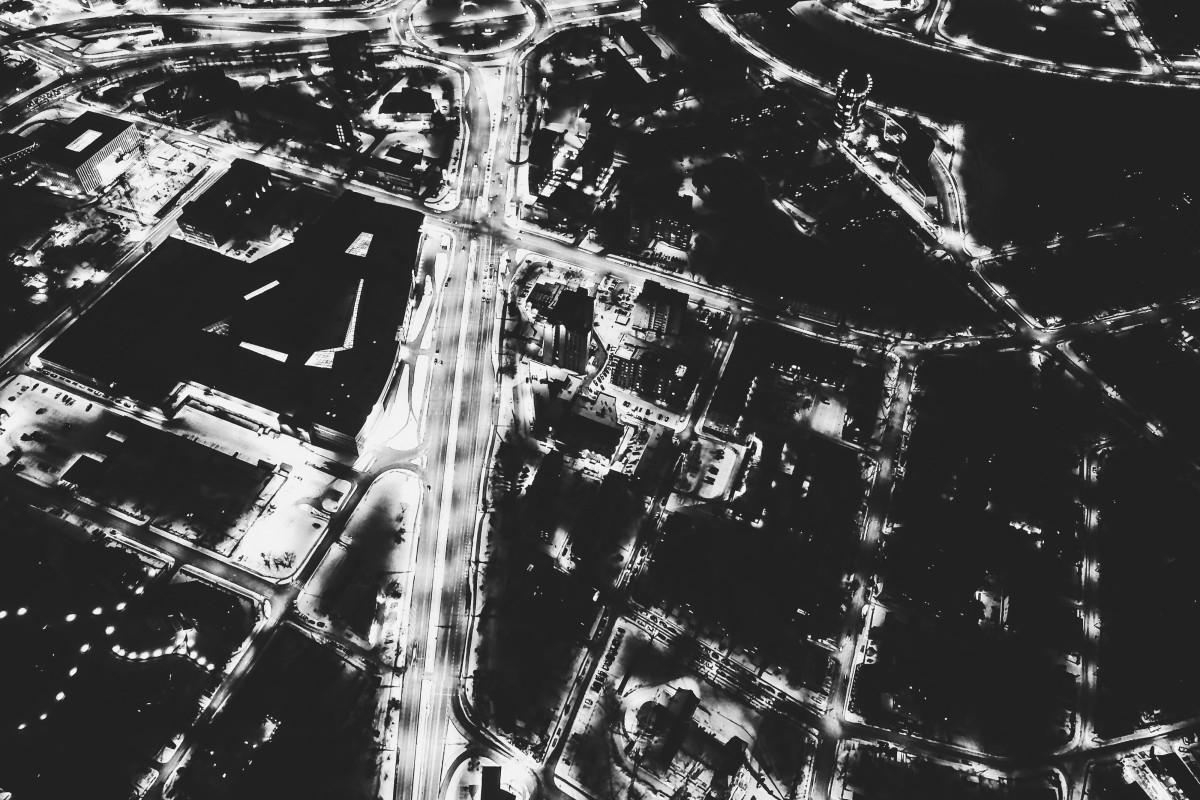 Vilnius Downtown Konstitucijos Avenue (Black and White)
