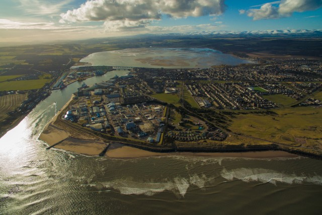 Spring day over Montrose and the harbour