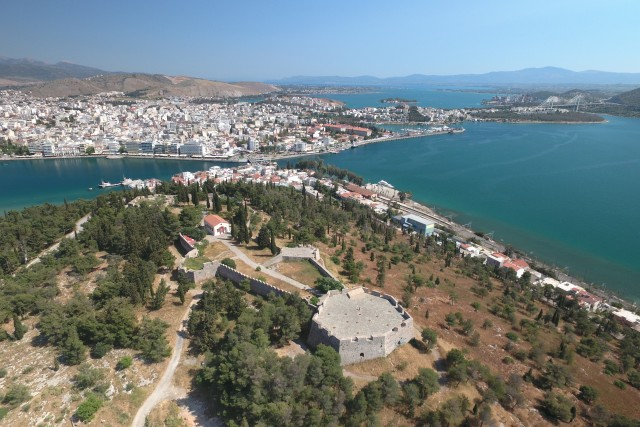 Halkida view from castle,Greece