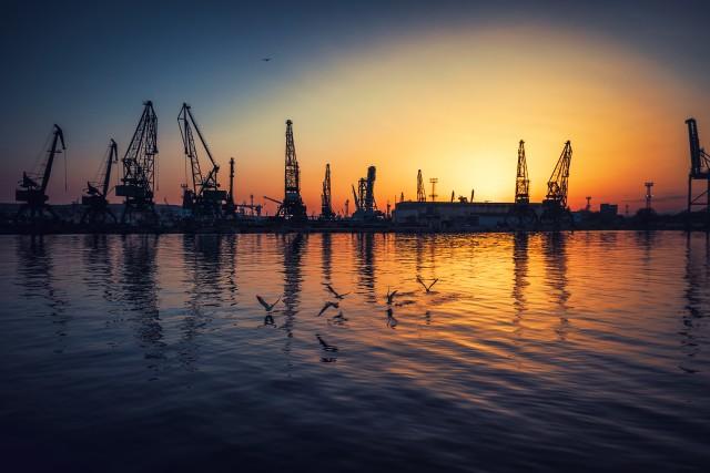Aerial view of Varna sea port and industrial cranes,  Bulgaria