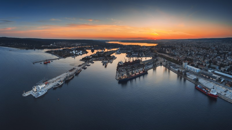 Aerial panorama drone view of sea port and industrial harbor zone in Varna