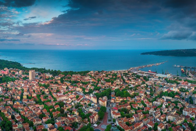 Varna, Bulgaria aerial drone view. Beautiful panorama of seascape and sea garden.