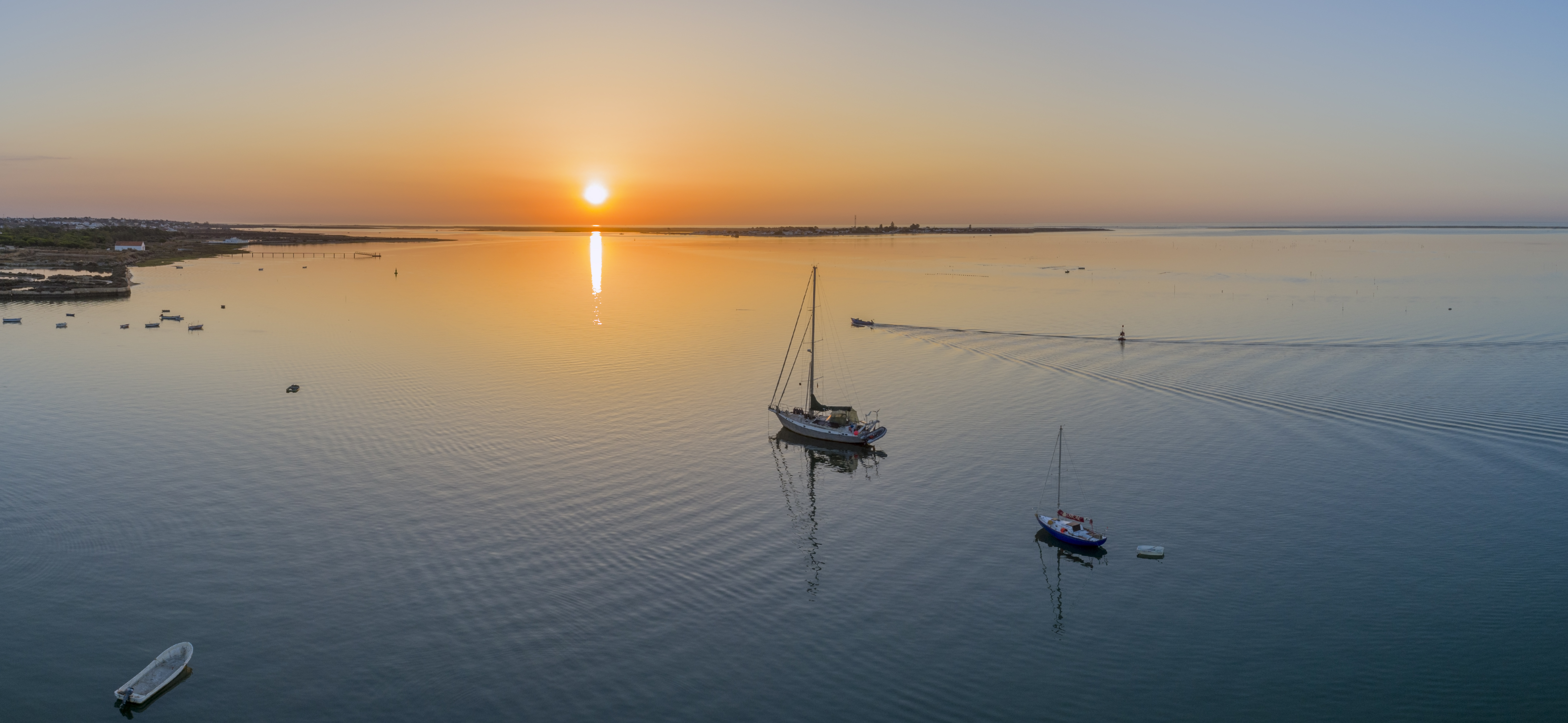 Sunrise in Ria Formosa Natural Park, Olhão. Portugal.