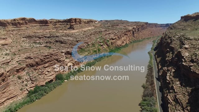 Aerial drone footage of Colorado River near Moab, Utah