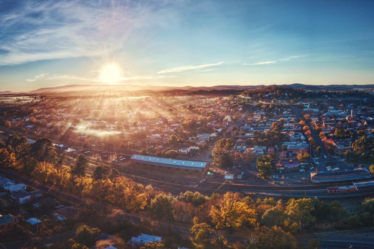 Morning Sunrise Over Castlemaine Victoria.