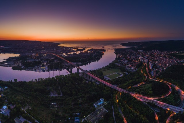 Aerial panorama drone view of Asparuhov bridge and Varna city, Bulgaria.