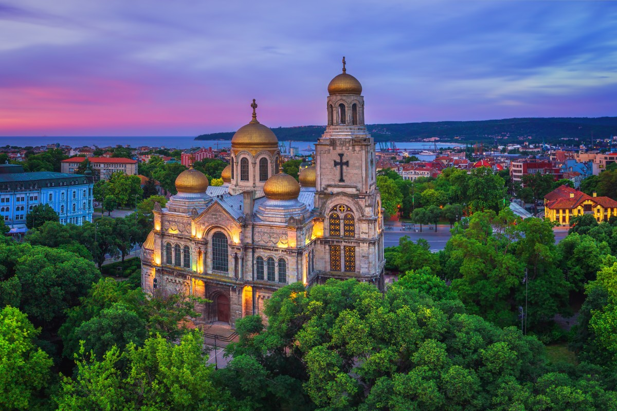 Sunrise over The Cathedral of the Assumption in Varna