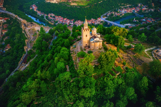 Aerial sunrise view of Tsarevets Fortress in Veliko Tarnovo