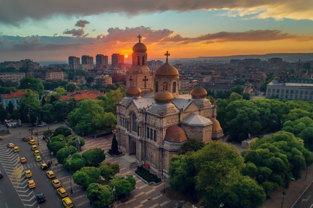 Sunset over The Cathedral of the Assumption in Varna