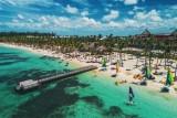 Aerial view of tropical island beach, Dominican Republic