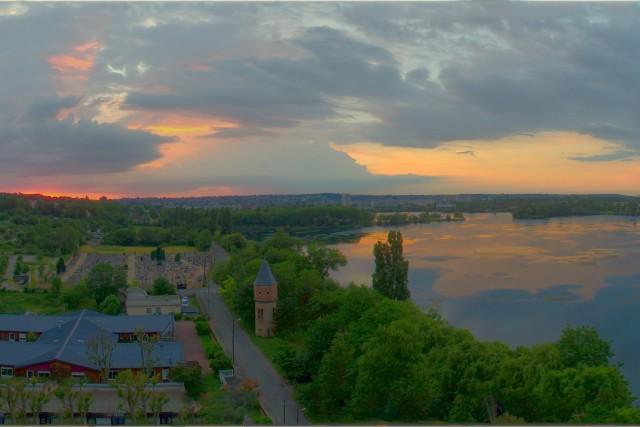 Sunset above lake
