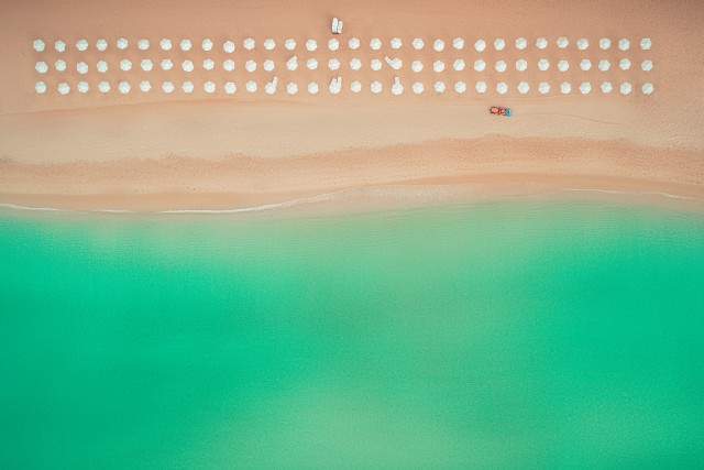 Aerial top view on the beach