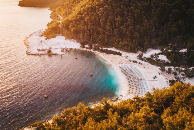 Thassos Island's Vathy Beach in Greece, at sunrise