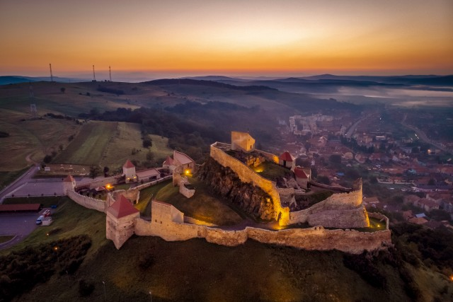 Sunrise over Transylvania, at Rupea Fortress near Brasov