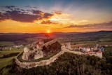 Sunset in Transylvania, over Rupea Fortress near Brasov and Sighisoara, Romania, Europe