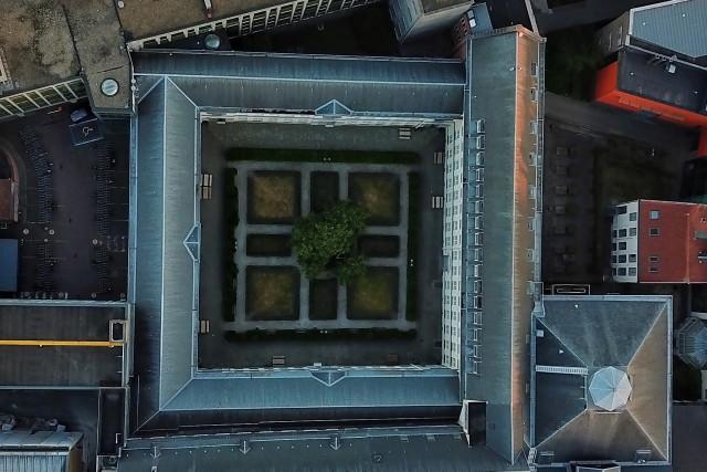 Symmetrical Building and Garden