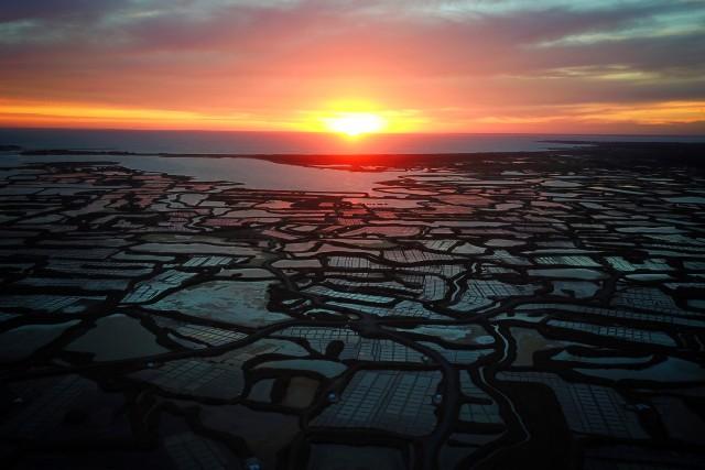 Sunset over Guerande salt marshes