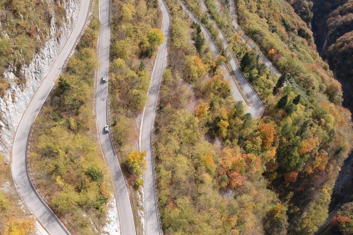 Moutain Road in fall season