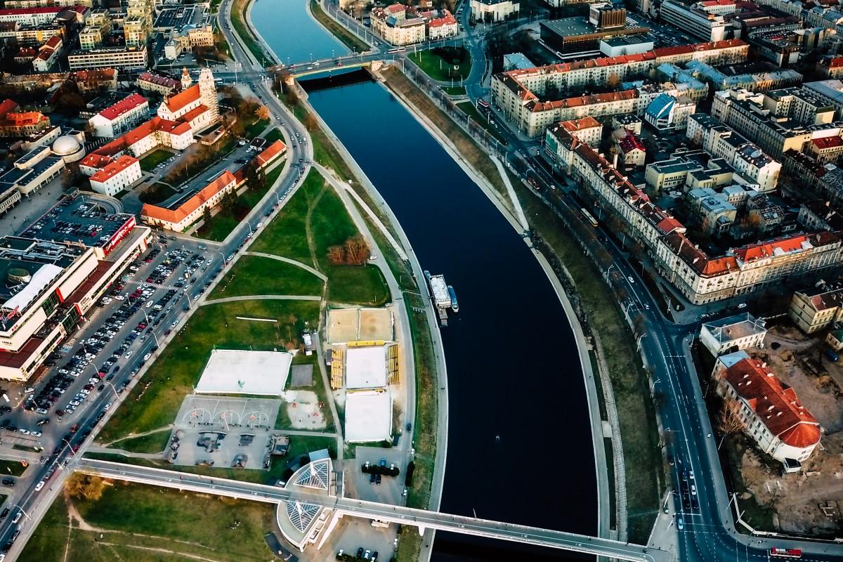 Neris river in Vilnius city center