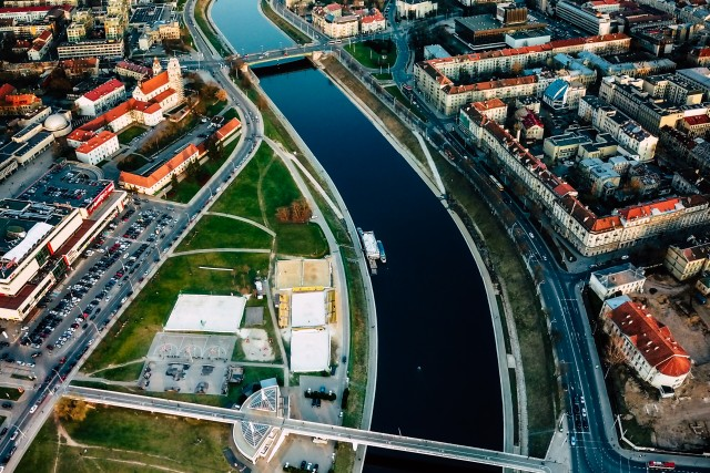 Neris river in Vilnius city center