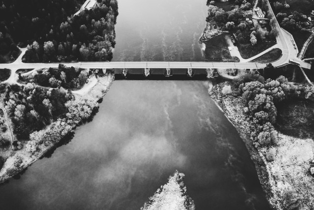 Bridge over Nemunas in Merkine, black and white