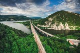 Aerial view of a bridge crossing the turquoise water of Tsonevo Reservoir near Varna, Bulgaria. Wonderful Rocks or Chudnite Skali, near Asparuhovo village,