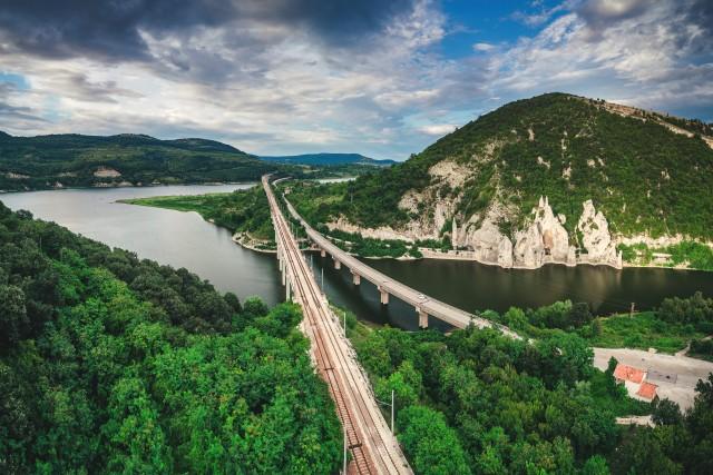 Aerial view of a bridge crossing the turquoise water of Tsonevo Reservoir near Varna, Bulgaria. Wonderful Rocks or Chudnite Skali, near Asparuhovo village,