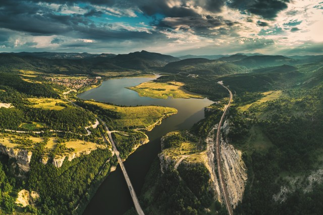 Aerial view of a bridge crossing the Tsonevo lake near Varna, Bulgaria. Wonderful Rocks or Chudnite Skali, near Asparuhovo village,