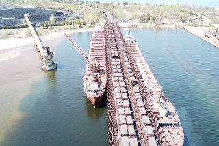 Ore Boat loading Lake Superior