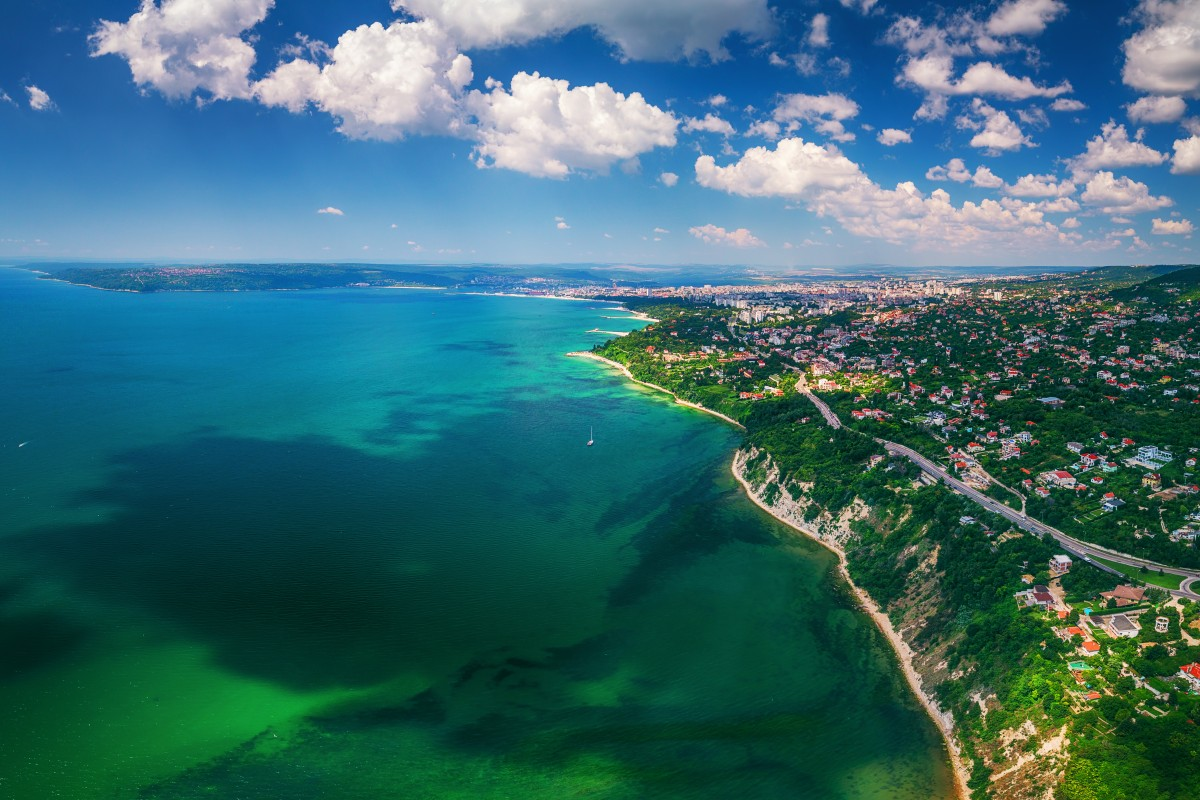 Aerial drone view of sea and coast above Varna, Bulgaria